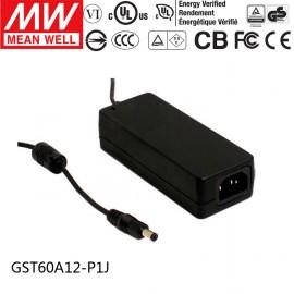 Mean Well GST60A12-P1J 12V 5A 60W AC/DC Power Adapter Level VI energy efficient
