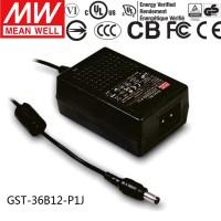 Mean Well GST36B12-P1J 12V 3A 36W AC/DC Power Adapter Level VI energy efficient