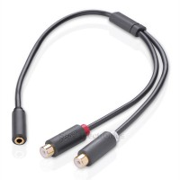 Ugreen HIFI Gold Plated 3.5mm Female to 2 RCA Female Audio Cable 0.25m Ash Black
